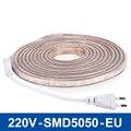220 V LEVOU Luz de Tira 60 LEDs/m Fita Flexível Luzes LED SMD5050 Lâmpada LED Light 1/2/3/4/5/10 m Alta Brilhante Iluminação À Prova D' Água