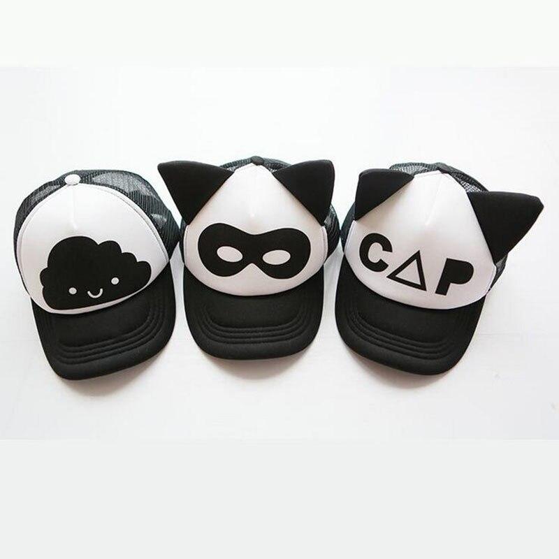Одежда для малышей Черный и белый Бейсбол Кепки дети с милыми ушками летние сетчатые Защита от Солнца шляпа ребенок Обувь для мальчиков и Об...