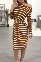 2019 women dress striped printed fashion ladies long sleeve autumn fall female dresses