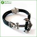 Atolyestone Bracelet  Stainless Steel Anchor Black Leather Cuff Bracelets & Bangles Men Women  Pulsera