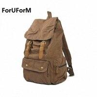 Free Shipping Vintage Genuine Leather Canvas Backpack Rucksack Mountaineering Man Women School Backpack SLR Camera Bag