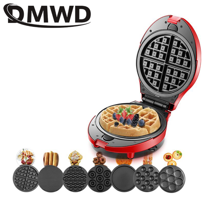 DMWD Multifunction Waffle Maker Electric Doughnut Ice Cream Cone Grill Cake Oven Pan Eggette Machine 7 Plates Optional 3 EU Plug