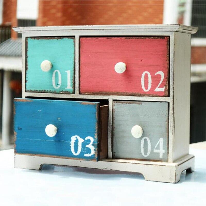 Style américain en bois artisanat lettre motif décoration boîte de rangement Vintage décor à la maison quatre armoires conteneur de stockage en bois artisanat