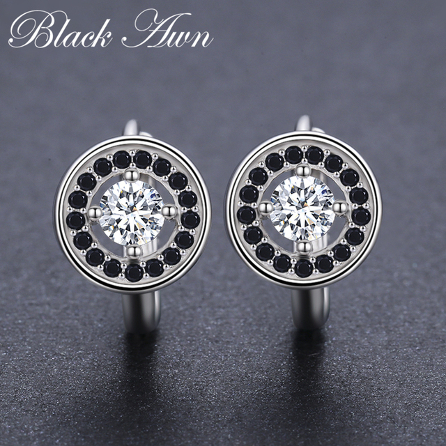 Genuine 925 Sterling Silver Round Engagement Hoop Earrings for Women with Black Spinel Stone Jewelry Bijoux T179