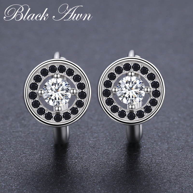 Genuine 925 Sterling Silver Round Engagement Hoop Earrings for Women with Black Spinel Stone Jewelry Bijoux T179Genuine 925 Sterling Silver Round Engagement Hoop Earrings for Women with Black Spinel Stone Jewelry Bijoux T179