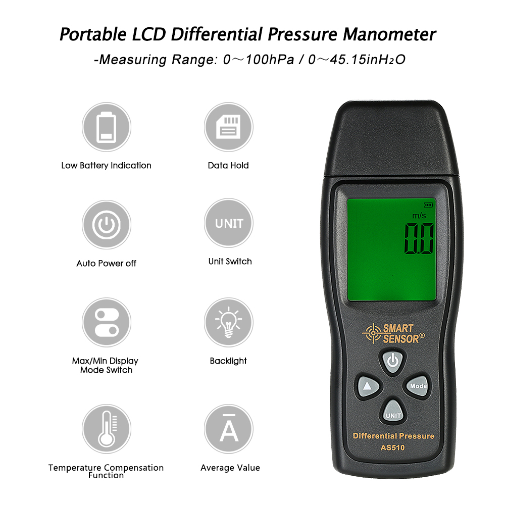 LCD Pressure Gauge Differential Pressure Meter Digital Manometer Measuring Range 0~100hPa manometro +Temperature Compensation as510 digital mini manometer with manometer digital air pressure differential pressure meter vacuum pressure gauge meter