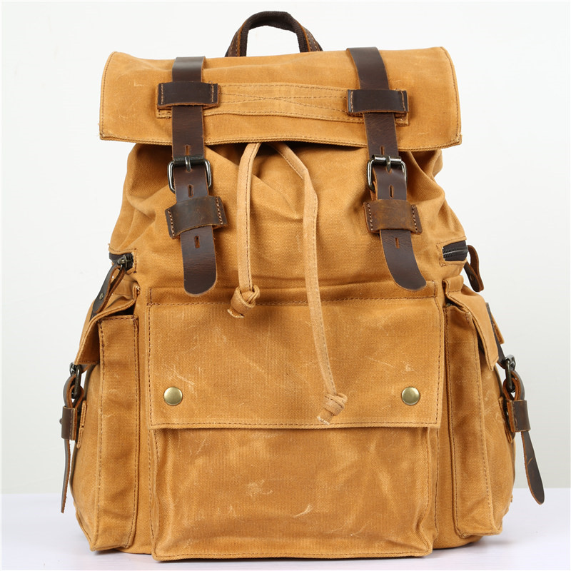 Nesitu High Quality Vintage Grey Army Green Yellow Coffee Canvas Women Men Backpacks 14'' Laptop Man Travel Bags M5358 army green vintage women