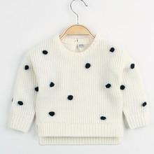 Милые детские вязаные свитера для девочек с круглым вырезом и длинными рукавами, вязаные пуловеры для малышей, топы, вязаный для новорожденных, одежда