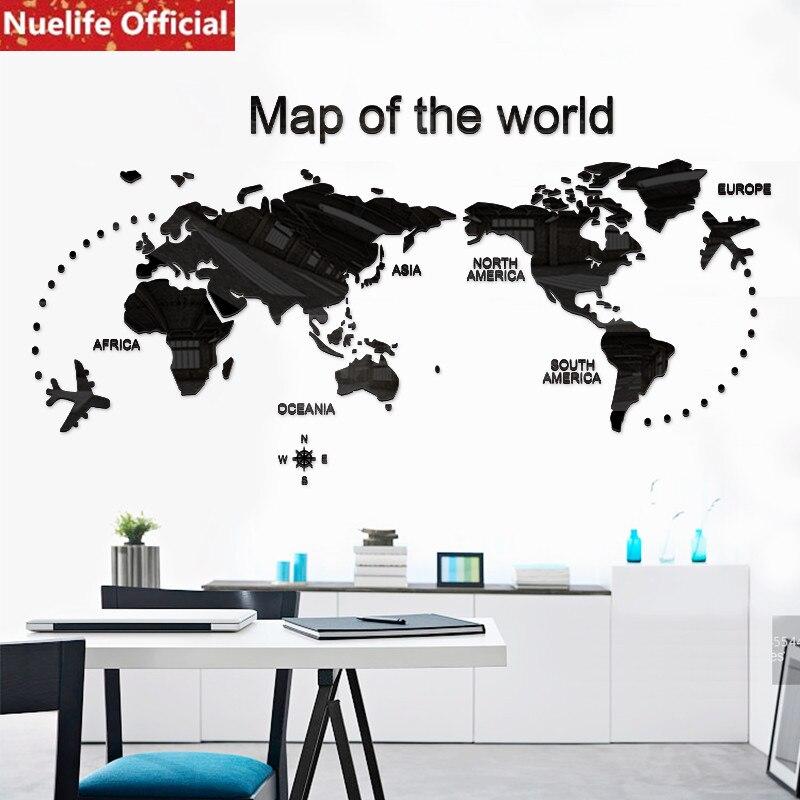 Grande carte du monde design acrylique stickers muraux enfants chambre dortoir bureau canapé arrière-plan décoration murale stickers muraux