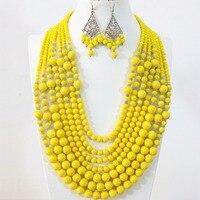 Желтый Lemon 7 ряда ожерелье серьги круглые Имитация Shell краски выпечки glss Кристалл Abacus бусины ручной работы, ювелирные изделия набор B1297