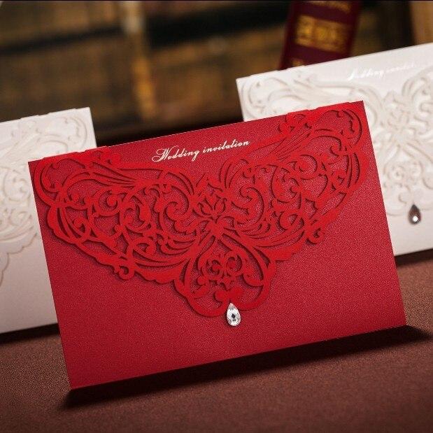 elegant red wedding invitations with diamond 2015 laser cut card