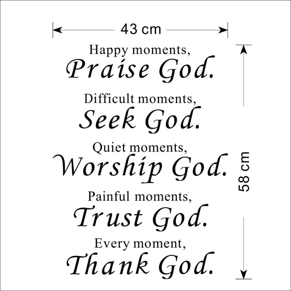 Thanking God Quotes Bible Wall Stickers Home Decor Praise Seek Worship Trust Thank God