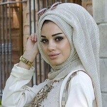 Thời Trang Lắc Chân Nữ Xếp Ly Hijab Khăn Đồng Bằng Sáng Bóng Nhăn Chân Hồi Giáo Hijabs Nữ Mạng Che Mặt Khăn Choàng Hồi Giáo Khăn 16 Màu