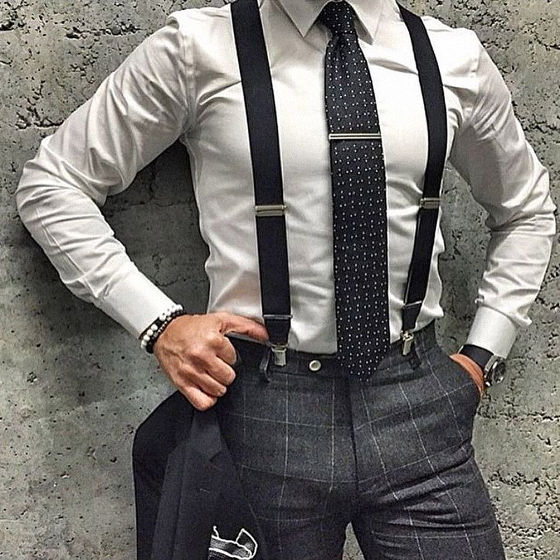 High Quality Man Suspenders Mens Adjustable Business Western Style Trousers Alloy 4Clips Braces Elasticity Strap