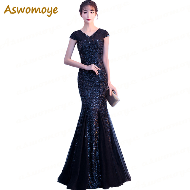 Aswomoye Mermaid Evening Dress 2018 Short Sleeve Sequins Wedding Party Dress  Beaded V neck Prom Dresses Robe De Soiree d0a71b16e34a