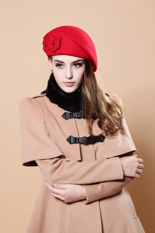 [FLB] новинка, модная женская шапка-берет для женщин, Шапка-бини, женская шапка, цветок, французская Трилби, шерсть, мягкая пилотка стюардессы, gorras planas