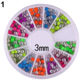 6 Colors 2-3mm Neon Rivet Round Metal Wheel Stickers Rhinestone Fashion Rivet studs Nail Art DIY Decoration