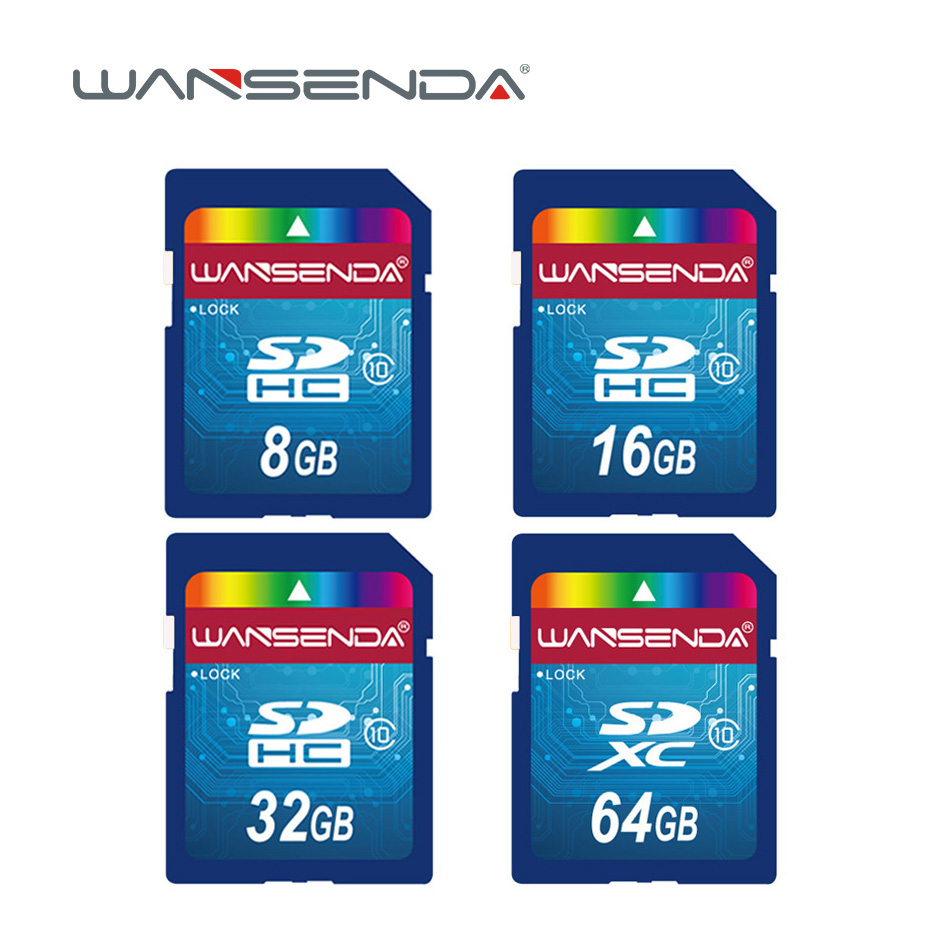 Hot sale Wansenda Full size SD card 64GB 32GB 16GB SDHC Card SD Card flash Memory Card 8GB 4GB universal for digital camera sony hxr mc2000u shoulder mount avchd camcorder 8gb sdhc memory card