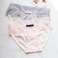 Señoras Atractivas de la cintura pantalones cortos de tela de algodón, todo cómodo suave cintura costura de encaje, moda de gran tamaño cómodo briefs thong