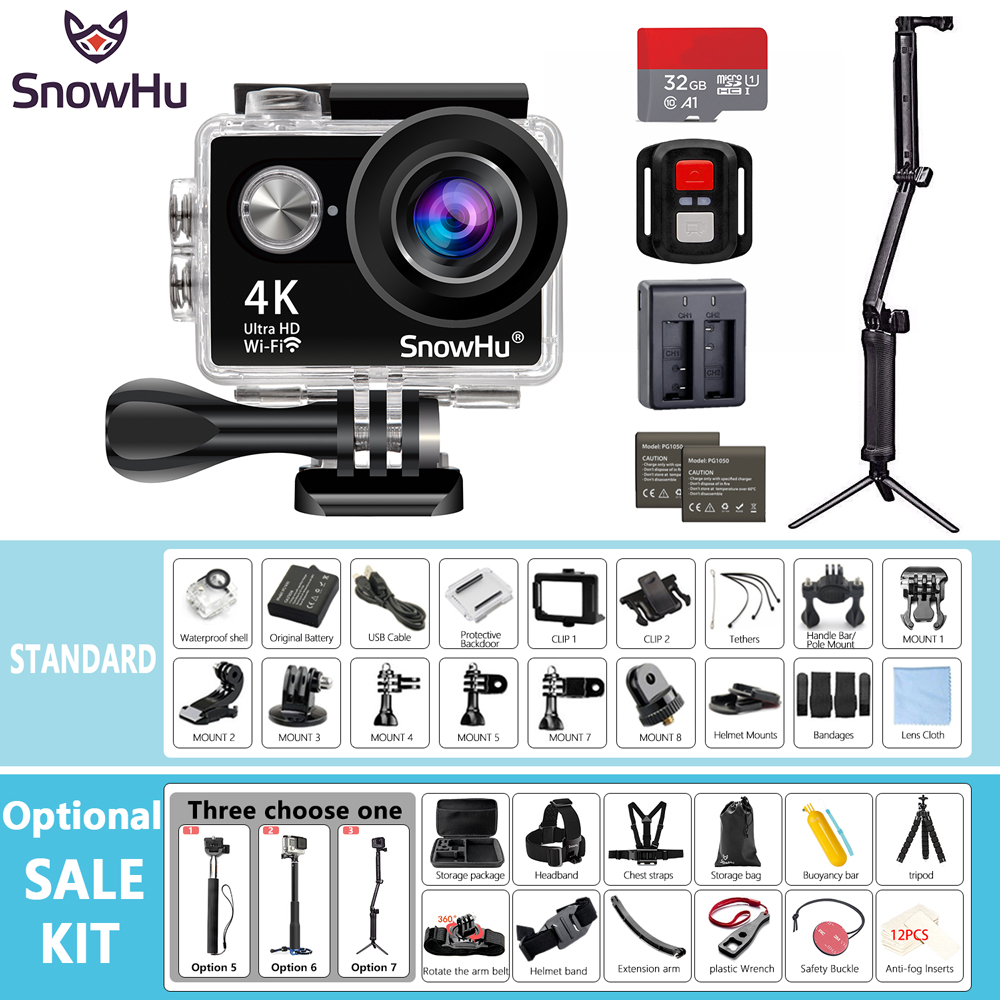 SnowHu Action camera H10R Ultra HD 4K / 25fps WiFi 2.0 170D underwater waterproof Helmet Cam camera Sport cam H10R eken h8 h8r ultra hd 4k 30fps wifi action camera 30m waterproof 12mp 1080p 60fps dvr underwater go helmet extreme pro sport cam