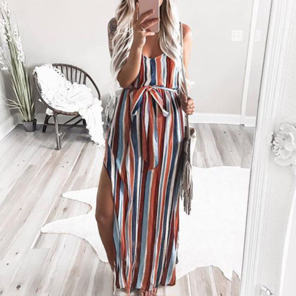 Maternity Dresses Summer Women Pregnant Pregnancy Clothes Cotton Strap Sleeveless Fork Openin Print Stripe Long Nursing Dress