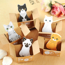 лучшая цена Kawaii Cute Carton Cat Memo Pads Label Stick School Office Stationery Message Planner Writing Sticky Notes Stickers