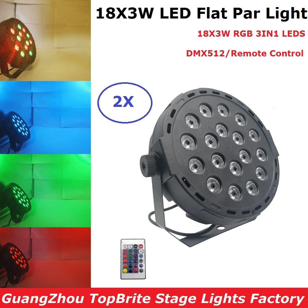 LED Stage Lights Wash Effect 18X3W RGB Full Color Flat Par DMX512 DJ Disco Lamp KTV Bar Party Backlight Beam Projector Spotlight