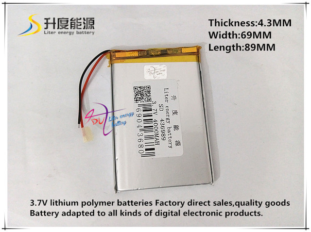 3.7V 4000mAH 436989 Polymer lithium ion / Li-ion battery for tablet pc power bank cell phone speaker pipo