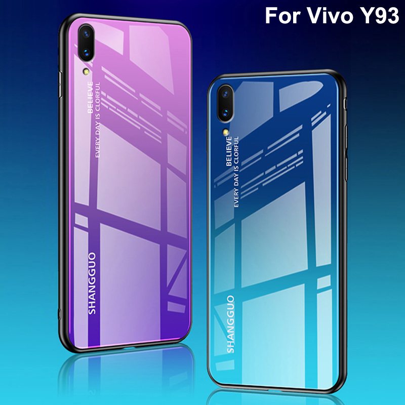 Us 9 18 22 Off For Vivo Y93 Case Luxury Hard Tempered Glass Fashion Gradient Protective Back Cover Cases For Vivo Y 93 Phone Vivoy93 Shell In Phone