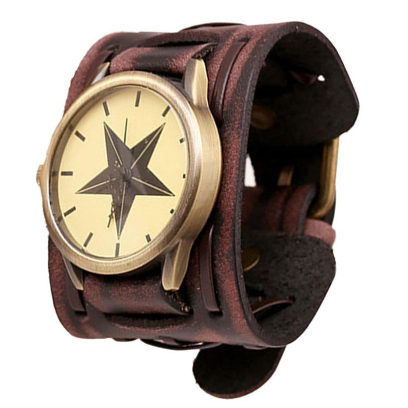 Superior New Style Retro Punk Rock Brown Big Wide Leather Bracelet Cuff Men Watch Cool June9 punk style golden color cuff bracelet for men