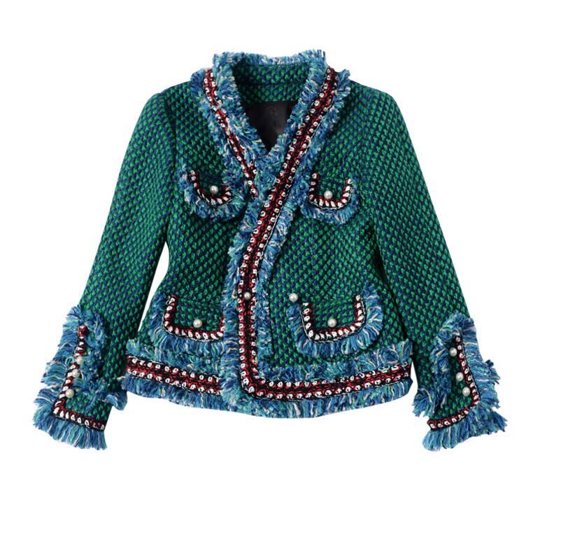 Tweed jacket áo khoác 2017 mùa xuân/mùa thu của phụ nữ len cashmere coat dài tay áo mỏng tua nút ngọc trai thanh lịch đường băng áo