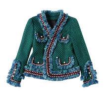 Твидовый пиджак пальто 2017 Весна/осень женские шерстяные кашемировые пальто с длинным рукавом тонкая кисточка с перламутровыми пуговицами элегантный взлетно-посадочной полосы куртка
