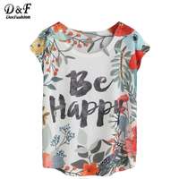 Dotfashion T Shirts Women 2017 Summer Women T Shirt Tops Vintage Basic Tee Shirt White Floral Letters Print T-shirt