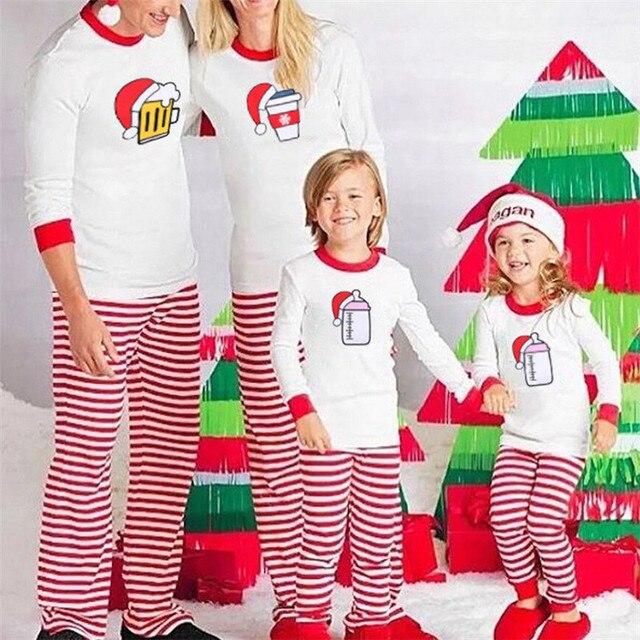 669096e7a5 Family Matching Christmas Pajamas Set Dad And Mom Kids Long Sleeve Tops+Striped  Pants 2Pcs PJs Set Xmas Sleepwear Nightwear 2018