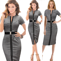 2016 New Designer Women Summer Dress Knee Length O Neck Cotton Material Sashes Plaid Sexy Female