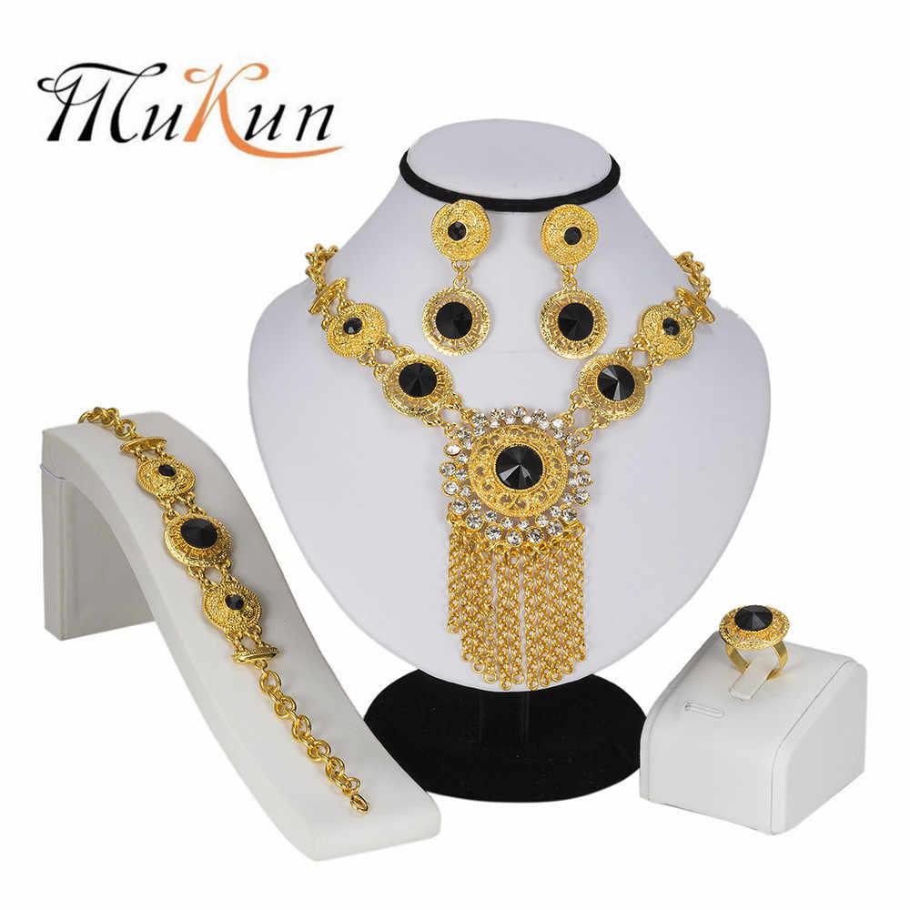 MUKUN Высокая мода комплект ювелирных изделий «Дубай» модный золотого цвета в нигерийском стиле свадебное платье в африканском стиле Бусины Ювелирные наборы женские ювелирные украшения