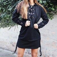 2017 Autumn Winter Women Hoodies Sweatshirts V Neck Sexy Bandage Hooded Tops Women Clothes WS2211M
