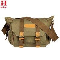 Huiton lona de la vendimia slr dslr cámara bolsa de hombro hombres de cuero vintage lienzo militar messenger bag para canon para nikon