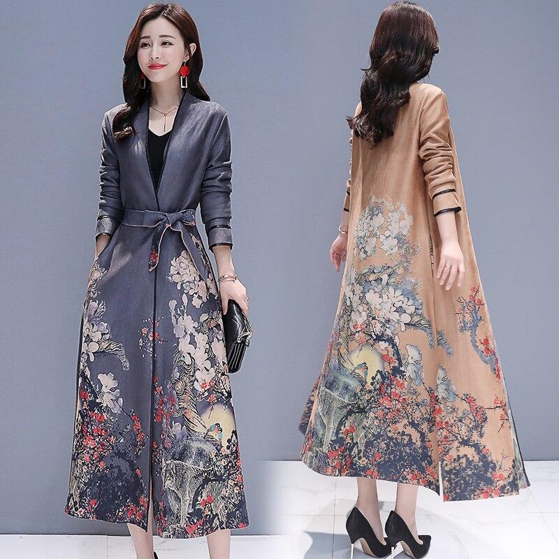 faux suede   trench   coat New Fashion Women's Vintage Floral Print color lapel long cardigan Windbreaker design