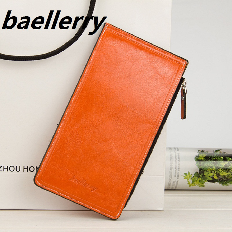 Long solid Women Wallets oil wax leather Slim Female Purse Coin card phone holder Carteras Lady Clutch Bag Money Cuzdan Pocket baellerry man wallets portefeuille homme card holder coin pocket cuzdan rfid male cuzdan purse clutch short purse with 6 styles