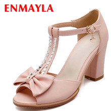 ENMAYER New fashion women Sandals t-strap  rhinestone ankle Sweet bow wedding shoes party summer buckle thin heels shoes Sandals недорого