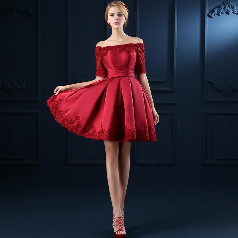 2018 Red Cocktail Dress For Women Off The Shoulder Boat