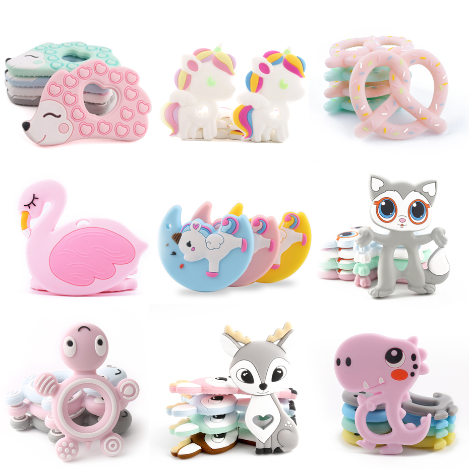 BPA Free Silicone Teethers Food Grade Tiny Rod DIY Teething Necklace Baby Shower Gifts Cartoon Animals Teether Let's Make 1pc(China)