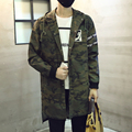 New 2016 spring camouflage long trench coat men with a hood chinese style character print male denim overcoat manteau homme /FY3