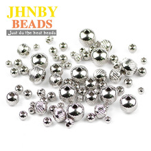 JHNBY Stainless steel Spacer bead ball 3/4/6/8MM Tire Metal Round Loose beads for Jewelry bracelet making DIY Findings wholesale btfbes 200pcs stainless steel 3 4 5 6 8mm spacer beads round ball metal loose beads for jewelry bracelet making diy accessories