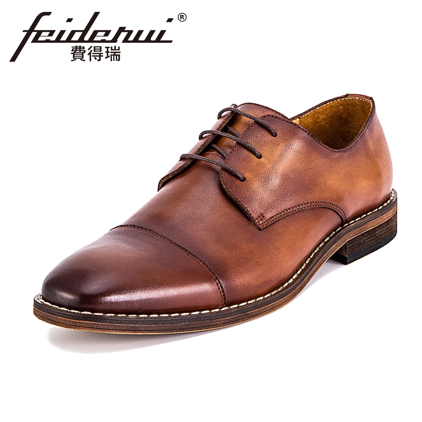 Fashion Genuine Leather Men's Handmade Footwear Round Toe Lace-up Man Derby Party Flats Formal Dress Wedding Office Shoes KUD12 mycolen patent leather genuine leather man shoes flats formal business shoe lace up handmade dress wedding shoes derby hombre
