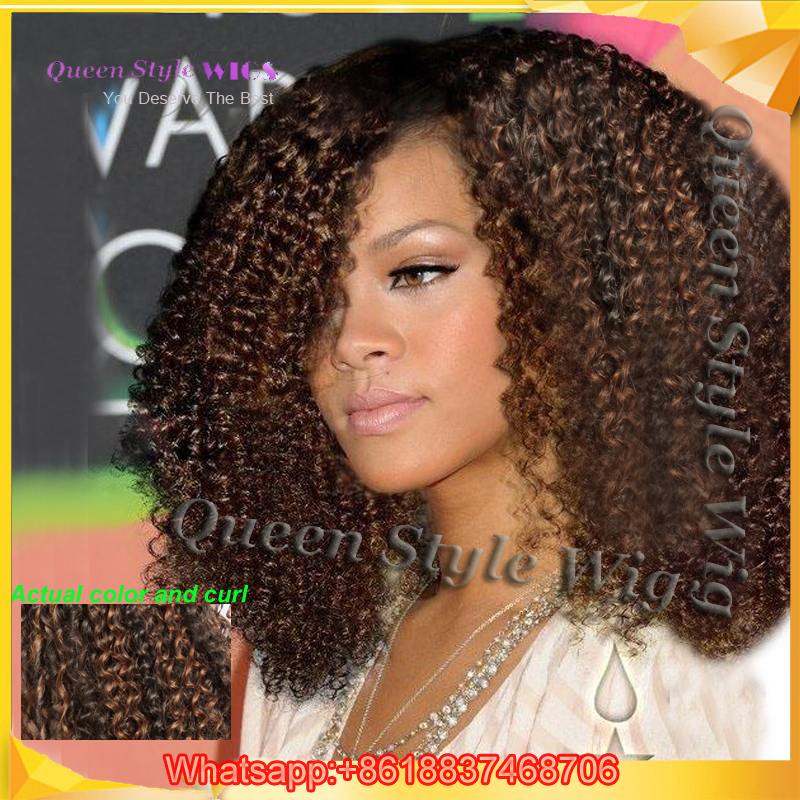 Celebrity Beyonce Kinky Curly Weave Hairstyles Wig Synthetic