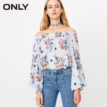 ONLY Women's Spring & Summer 2019 Flared Sleeves Boat Neck Floral Chiffon Shirt |118151522 цена
