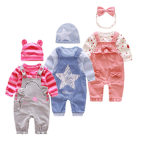 Newborn Baby Girl Clothes Braces Spring Autumn Cotton Set Children Baby Girl Clothes Long Sleeve Baby