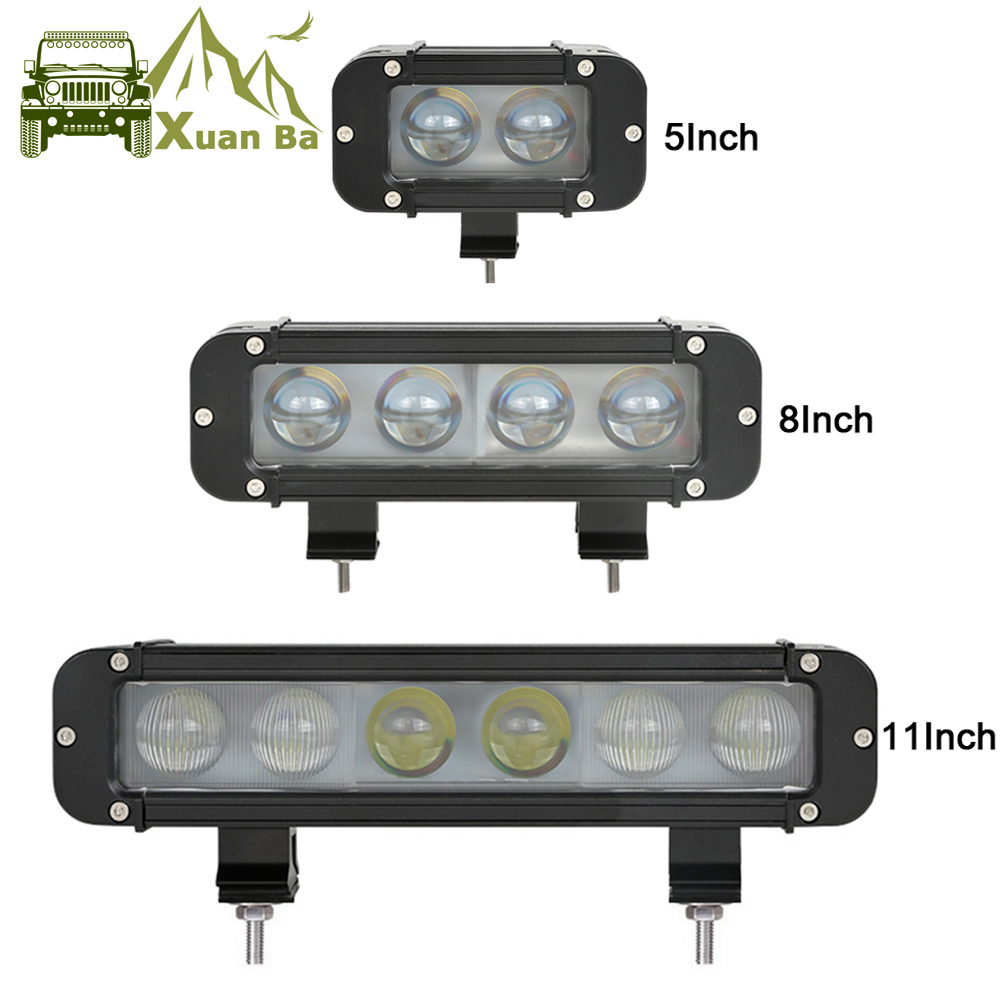 XuanBa Obiektyw 4D 11 cali 60 W Led Work Light Bar na motocykl ATV SUV Truck 12V Lampa jazdy 24V Spot Combo 40 4x4 Off Road Bar